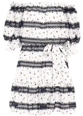 Perseverance Off-the-shoulder Floral-print Cotton-gauze Mini Dress