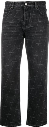 Balenciaga Logo Print Straight-Leg Jeans