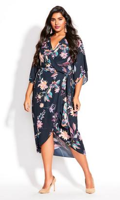 City Chic Floral Crush Midi Dress - teal