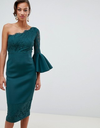 Asos Design DESIGN one shoulder lace mix midi pencil dress-Blue