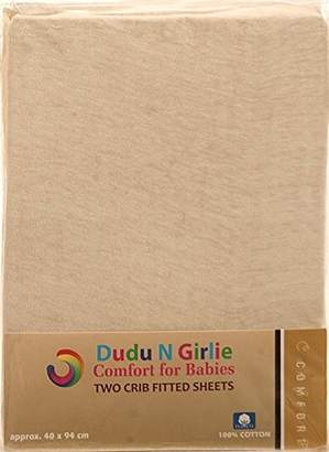 Dudu N Girlie Cotton Crib Jersey Fitted Sheets, 40 cm x 94 cm, 2-Piece, Cream