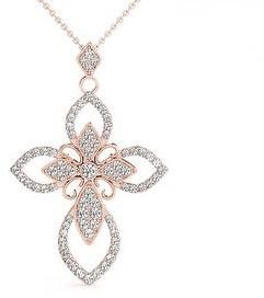 14KT 3/4 CT Fancy Modern Design Round Cut Diamond Cross Pendant Amcor Design