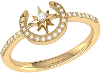 Crescent North Star Ring In 14 Kt Yellow Gold Vermeil On Sterling Silver
