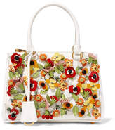 Prada Galleria Garden Mini Appliquéd Textured-leather Tote - Ivory