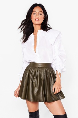 Nasty Gal Womens Pleat Yourself Faux Leather Mini Skirt - Green - L