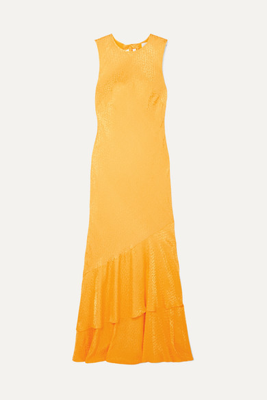 Rebecca Vallance Isobella Satin-jacquard Maxi Dress - Orange
