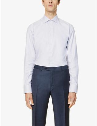 Canali Geographic-print slim-fit cotton shirt
