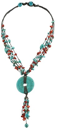 Aeravida Handmadde Stunning Turquoise Disc Medallion with Synthetic Coral Statement Necklace