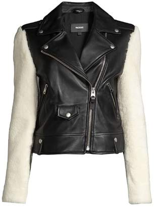 Mackage Baya Shearling-Sleeve Leather Moto Jacket