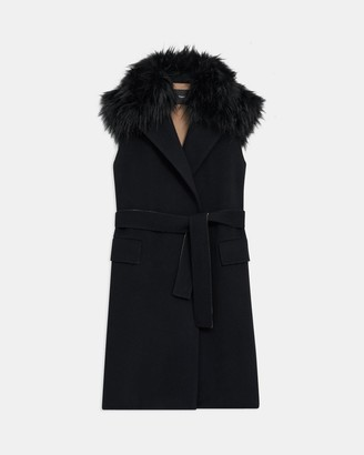 Theory Belted Vest in Double-Face Wool-Cashmere