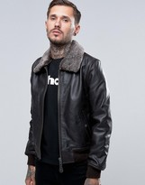 Schott Leather Flight Jacket Detachable Faux Fur Collar