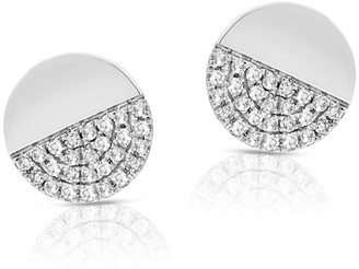 Diamond Disc Stud Earring 14K White Gold by Joelle Collection