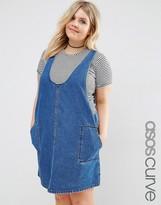Asos Minimal Mini Pinafore Dress In Midwash Blue