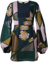 Roksanda balloon-sleeve patchwork dress - women - Silk/Cotton/Acrylic/Wool - 8
