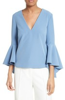 Milly Women's Nicole Bell Sleeve Italian Cady Top