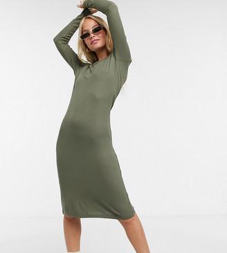 Noisy May Petite ribbed midi dress in khaki
