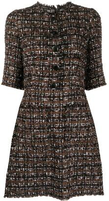 Dolce & Gabbana Horn-Buttons Tweed Short Dress
