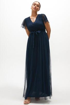 Coast Curve Tulle V-necktie Belt Maxi Dress