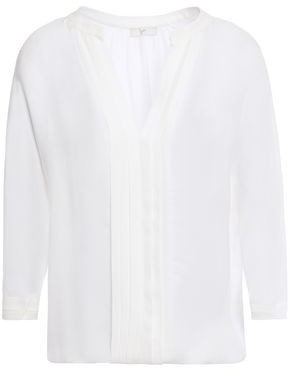 Joie Marru Pintucked Silk Crepe De Chine Blouse