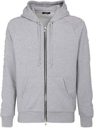 Balmain Embossed Logo Cotton Jersey Zip Hoodie