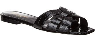 Saint Laurent Tribute Croc-Embossed Leather Slide