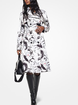 Michael Kors Portrait Print Satin Duchesse Trench Coat