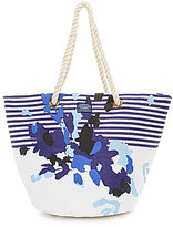 Joules Tasseled Floral Striped Summer Tote