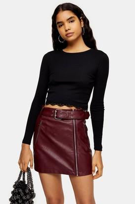 Topshop Womens Black Long Sleeve Lace Trim Top - Black