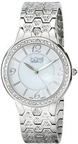 Burgi Women's BUR115SS Swiss Quartz Crystal Accented Mother-of-Pearl Guilloche Silver Bracelet Watch