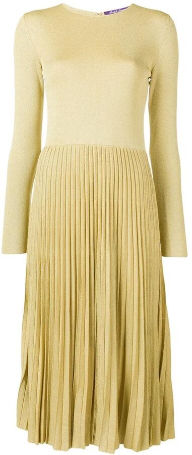 Ralph Lauren Collection Lurex Knit Pleated Dress