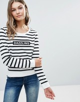 Only Dazzling Micka Logo Stripe Sweatshirt