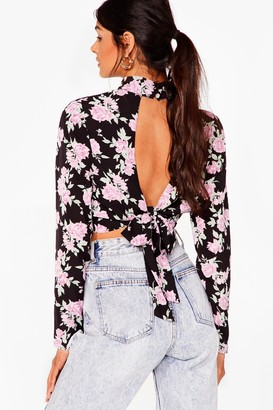 Nasty Gal Womens Rose to the Challenge High Neck Cropped Blouse - Black