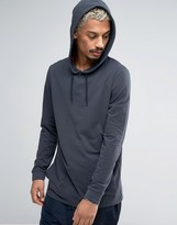 Asos Longline Long Sleeve T-Shirt In Pique Fabric With Hood