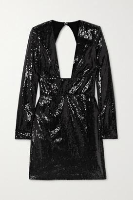 Dundas Open-back Sequined Chiffon Mini Dress - Black