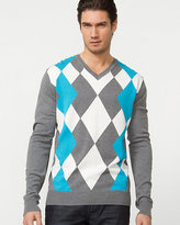 Le Château Silk Blend Argyle V-Neck Sweater