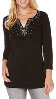 Rafaella Solid Split V-Neck T-Shirt