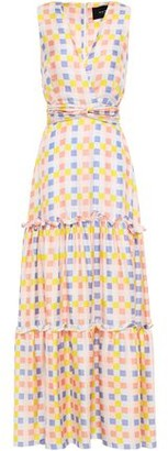 Paper London Zoe Tiered Gingham Silk-twill Maxi Dress
