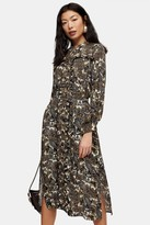 Topshop Womens Petite Multicoloured Paisley Midi Shirt Dress - Multi