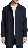 Ralph Lauren Darley Leather-Trim Raincoat, Navy