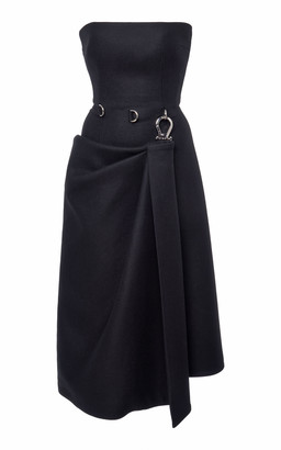 Prada Strapless Wool-Crepe Corset Dress