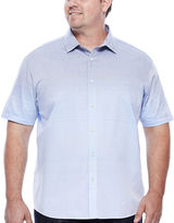 Claiborne Short-Sleeve Ombre Woven Button-Front Cotton Shirt - Big & Tall