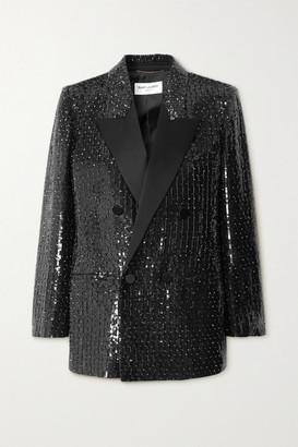 Saint Laurent Satin-trimmed Sequined Crepe Blazer - Black