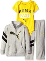 Puma Baby Boys' 3 Piece Zip up Jacket, Bodysuit, and Pant Set
