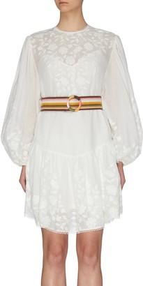 Zimmermann 'Zinnia' belted applique mini dress