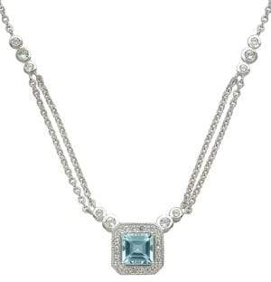 Lord & Taylor 14Kt. White Gold Blue and White Topaz Necklace