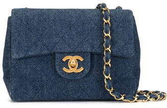 Chanel Pre Owned 1990s Diamond Quilted Denim Shoulder Bag