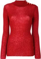 Balmain button-embellished turtleneck jumper - women - Polyamide/Mohair/Wool - 34