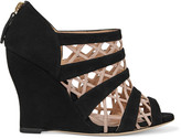 Valentino Leather-trimmed suede wedge sandals