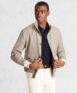 Brooks Brothers Golden Fleece Wool Linen Houndstooth Bomber Jacket