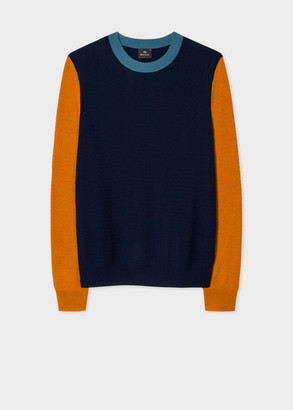 Paul Smith Men's Navy Merino Sweater With Contrast Sleeves